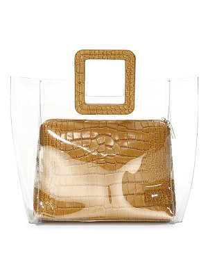STAUD shirley pvc & croc-embossed leather tote