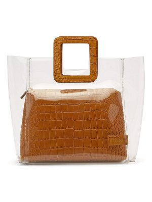 STAUD shirley crocodile-effect leather and pvc tote