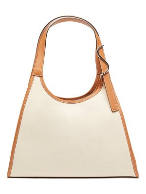 STAUD soft rey leather-trimmed linen tote bag