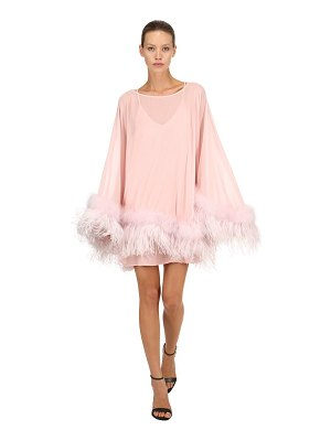 STEFANO DE LELLIS Georgette caftan dress w/ feathers