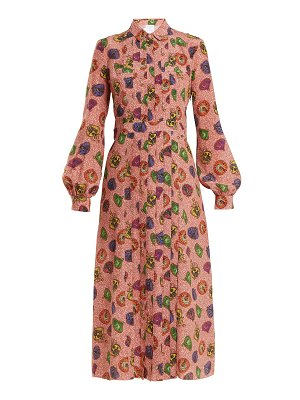 Stella Jean Graphic Print Pleat Front Silk Shirtdress