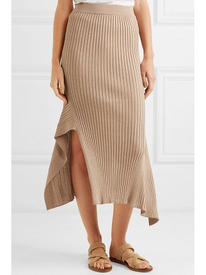 Stella McCartney asymmetric ribbed wool and silk-blend midi skirt
