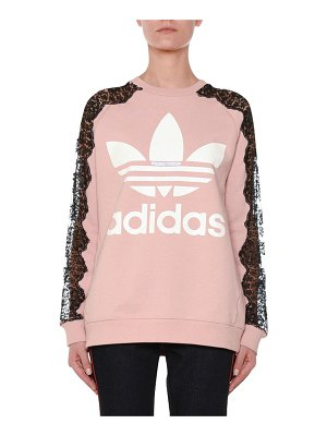 Stella McCartney Crewneck Long-Sleeve Pullover Sweatshirt with Lace Inset