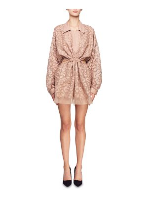 Stella McCartney Drawstring-Waist Long-Sleeve Burnout Mini Dress