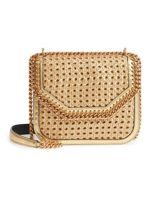 STELLA MCCARTNEY Falabella Woven Metallic Faux Leather Shoulder Bag