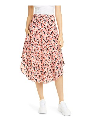Stella McCartney floral round hem silk midi skirt