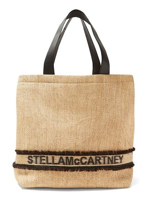 Stella McCartney logo woven raffia tote bag