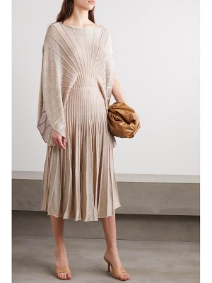 Stella McCartney net sustain metallic knitted midi dress