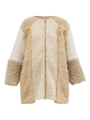 Stella McCartney panelled faux fur and faux shearling coat