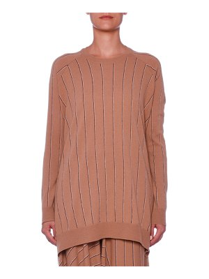 Stella McCartney Pinstripe Crewneck Raglan Wool Sweater w/ Asymmetric Hem