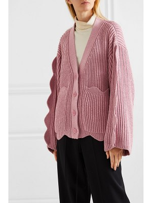 Stella McCartney scalloped ribbed cotton and wool-blend cardigan