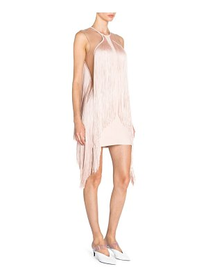 Stella McCartney scarlet stretch cady sleeveless fringe dress