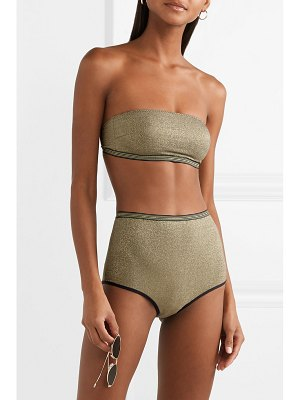 Stella McCartney striped stretch-lurex bandeau bikini top