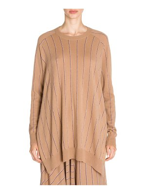 Stella McCartney wool pinstripe knit high-low jumper
