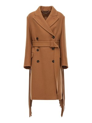 Stella McCartney Wool twill double breast coat w/ fringe