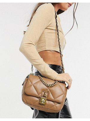 Steve Madden bterra quilted crossybody bag with chain in camel-beige