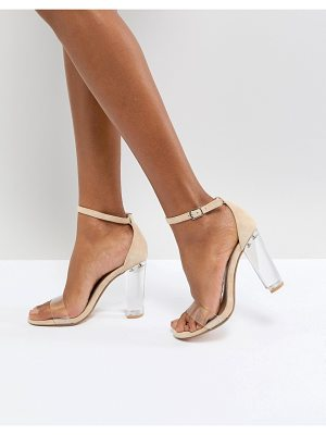 STEVE MADDEN Chelsea Blush Clear Block Heeled Sandals