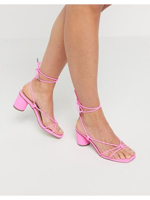 Steve Madden ivanna strappy ankle tie heeled sandals in pink