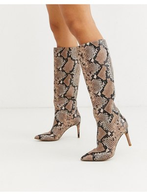 Steve Madden kinga knee high heel boot in pink snake
