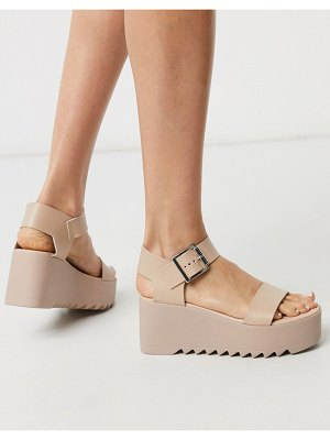 Steve Madden lake chunky flatform sandal in blush leather-pink