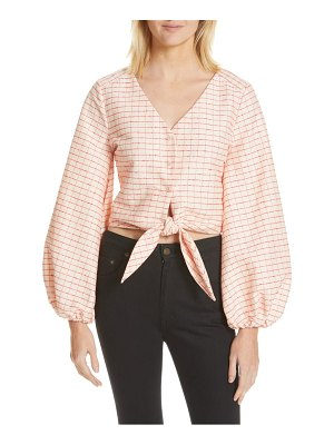 Stine Goya blanca plaid tie waist blouse