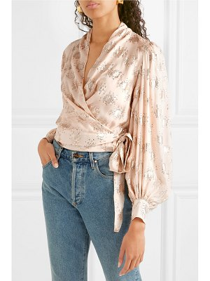 Stine Goya glenda metallic fil coupé silk-blend wrap top