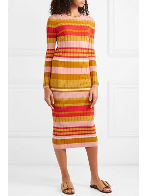 Stine Goya jeanne metallic striped ribbed-knit midi dress