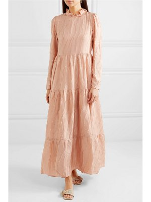 Stine Goya judy ruffled devoré-satin maxi dress