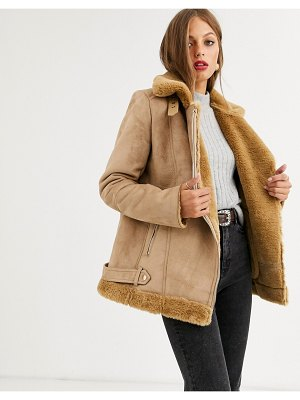 Stradivarius aviator jacket in camel-beige