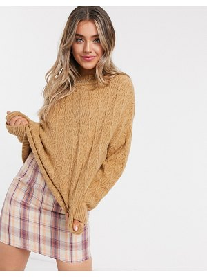 Stradivarius cable knit sweater in beige