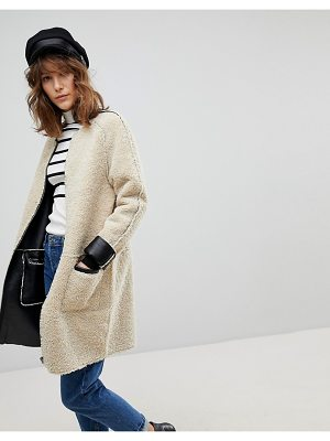 Stradivarius Collarless Teddy Jacket