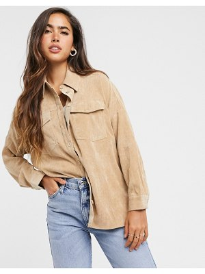 Stradivarius cord oversized shirt in beige
