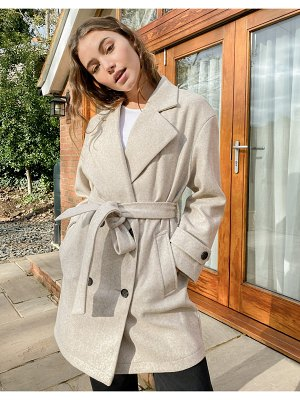 Stradivarius double-breasted coat in beige