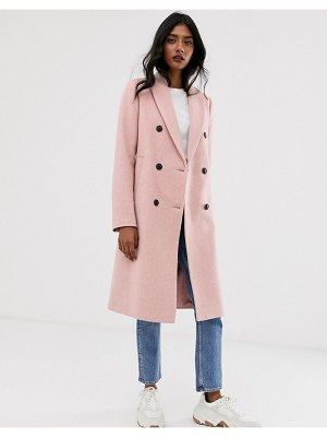 Stradivarius double breasted long coat in pink