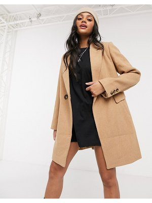 Stradivarius double breasted tailored coat in camel-brown