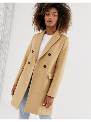 Stradivarius double-breasted tailored coat in camel