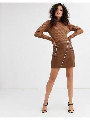 Stradivarius faux leather mini skirt in brown