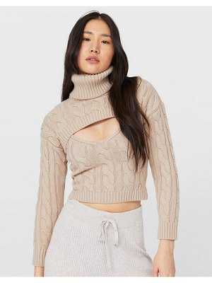 Stradivarius knitted tank with super cropped roll neck in stone