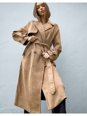 Stradivarius long double breasted belted coat in camel-brown