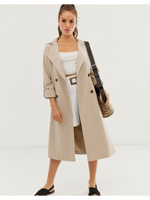 Stradivarius long flowy trenchcoat in camel