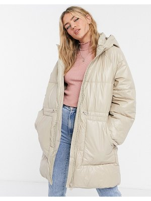 Stradivarius long padded coat with hood in beige