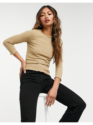 Stradivarius long sleeve top with lettuce edge in beige