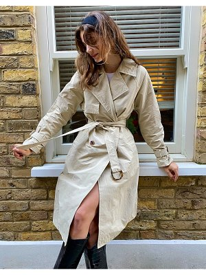 Stradivarius long trench coat in camel-beige