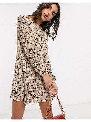 Stradivarius pleated dress in beige with black dots