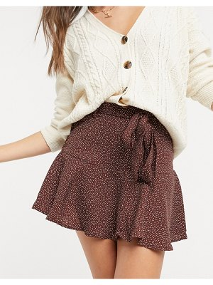 Stradivarius printed shorts with tie waist and frill hem in brown polka dot