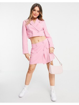 Stradivarius recycled polyester double-breasted cropped blazer set in pink