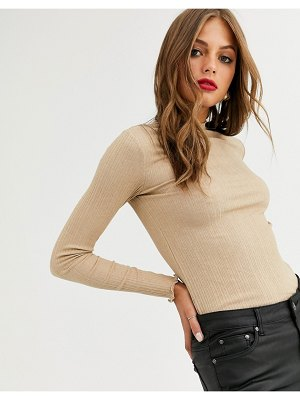 Stradivarius ribbed top with lettuce edge in camel-beige