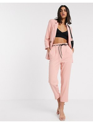 Stradivarius slouchy tailored pants with faux leather belt in pink