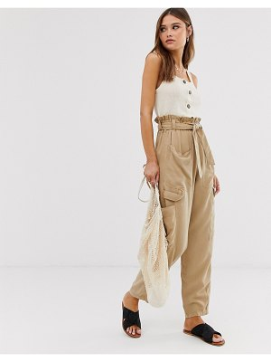 Stradivarius str paperbag parachute pants in beige
