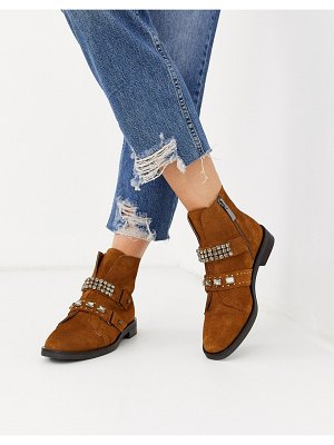 Stradivarius suede jewelled strap boots in tan